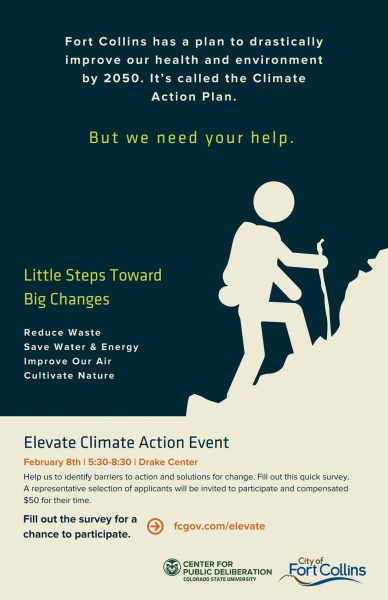 Poster for Elevate Climate Action event.