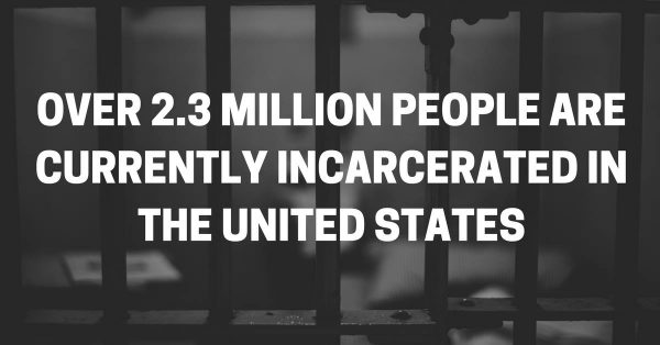 """Image says, """"Over 2.3 million people are currently incarcerated in the United States."""""""