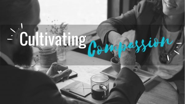 Event banner for Cultivating Compassion in the Workplace. Includes image of two professionals shaking hands.
