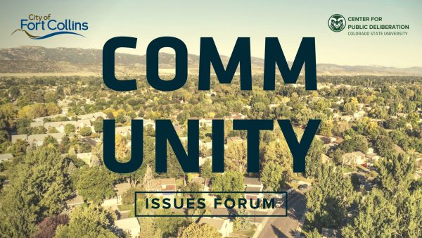 Event banner for Community Issues Forum. Image of Fort Collins.