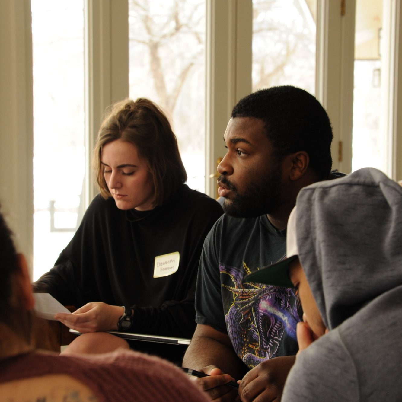 Center for Public Deliberation students participating in spring facilitation training.